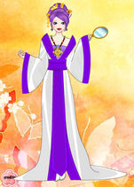 Rarity in a Mandarin gown with a mirror