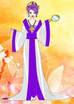 Rarity in a Mandarin gown with a mirror
