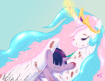 Princess Celestia protecting Twilight