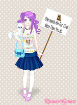 Rarity holding a sign and her pet cat Opalescence