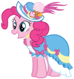 Pinkie Pie in a coronation dress with a hat