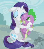 Rarity hug Spike by artist-prinzeburnzo