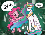 Princess Celestia's mane gaked by Pinkie Pie