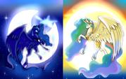 Princess Luna and Princess Celestia wallpaper by artist-pranksolot