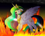 Princess Celestia crying in the fire