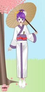 Rarity in a kimono holding a parasol