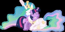 Princess Celestia hugging Twilight Sparkle by artist-90sigma