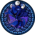 Princess Luna in stained glass by artist-akili-amethyst