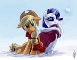 Applejack and Rarity winter dress by artist-whitediamonds