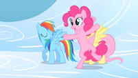 Pinkie Pie cartwheeling on clouds S1E16