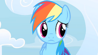 Rainbow Dash doubtfully listens to Fluttershy's ineffective consolation S1E16