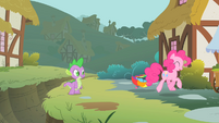 Pinkie Pie trotting away from the ditch S1E15