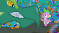 Green dragon confronting Spike S1E24