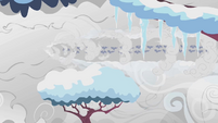 Weather team flying past snow on trees S1E11