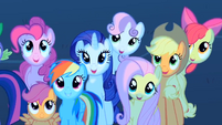 Main 5 ponies and CMC are watching the meteor shower S01E24