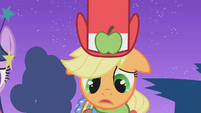Applejack realizes she looks bad in the dress S1E14