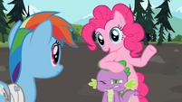 Pinkie Pie resting on Spike's head S2E07
