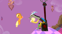 Applejack being levitated by Discord S2E02