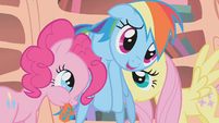 Pinkie Pie and Fluttershy help Rainbow up S1E09