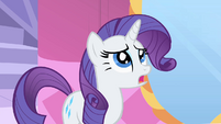 Rarity displeased with Fluttershy's dress S1E20