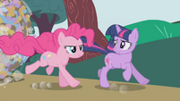 Pinkie galloping next to Twilight S1E10