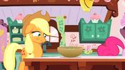 Applejack looks at grey cupcake mixture S1E04