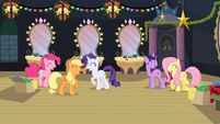 Five friends laugh as Rainbow Dash agrees to close window S2E11