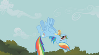 Applejack riding Rainbow Dash S1E09