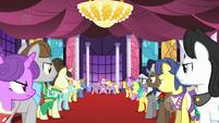 Ponies glaring at Pinkie S1E26