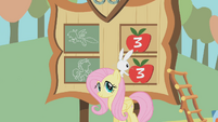 Fluttershy and Angel keep score of the Iron Pony competition S01E13