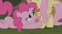 Pinkie pleading at Fluttershy's hooves S1E09