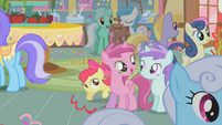 Apple Bloom hiding behind Berry Pinch S1E12