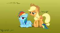 Applejack steps on Rainbow Dash's tail S1E13