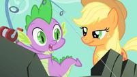 Applejack smiling at Spike S01E19