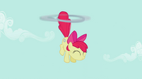 Apple Bloom being lifted upwards S2E06