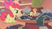 Applejack spots Apple Bloom walking away S1E09