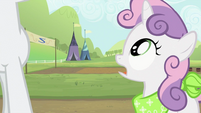 Sweetie Belle asking where's Applejack S2E05