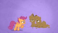 Scootaloo Stares at the Mud-covered Apple Bloom and Sweetie Belle S02E17