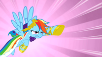 Rainbow Dash charging towards the falling pie S1E26