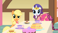 Applejack and Rarity look to their side S1E22
