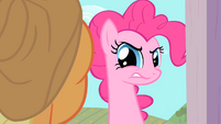 Pinkie Pie tries to look inside the barn S1E25