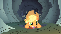 Applejack holding on to Spike's tail S1E19
