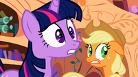 Twilight and Applejack shocked by the amount of cutie marks Apple Bloom is obtaining S2E06