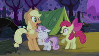 Sweetie Belle hugging Applejack's foreleg S2E05