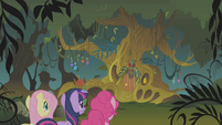 Twilight and friends reach Zecora's hut S1E09