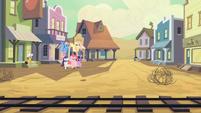 Main ponies running to Applejack S02E14