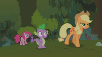 Applejack dismisses Pinkie Pie's and Spike's explosion theories S01E15