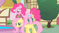 Pinkie Pie on top of Fluttershy S01E22