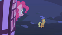Pinkie Pie saying goodbye to her friends after the party S1E25