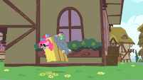 Pinkie Pie hops after Rainbow Dash S1E25